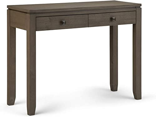 Simpli Home AXCCOS-CON-FG Cosmopolitan Solid Wood 38 inch Wide Contemporary Console Sofa Table in Farmhouse Grey