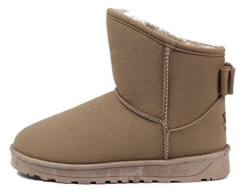 AgeeMi Shoes Damen Rund Zehe Bow Stiefeletten Gemütlich Warm Schneestiefel Gelb
