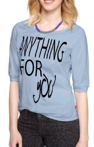 s.Oliver - Camiseta con cuello redondo de manga 3/4 para mujer Azul (5D)