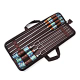 Beststar 7pc Stainless Steel BBQ Skewers Set, Barbecue Shish Kebab Kabob Stick Grilling Kit With Wooden Handle in Handy Storage Pouch for Family Outdoor Party Camping, Campfire #3020