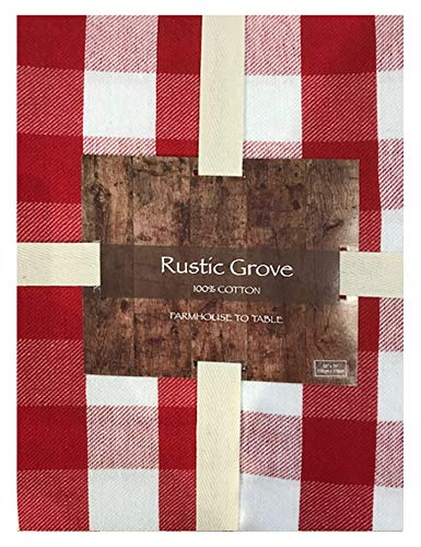 Lintex Farm Check Gingham Indoor/Outdoor Casual Cotton Napkins Set, Farm Buffalo Plaid 100% Cotton Weave Kitchen, Patio and Dining Room Napkins, Set of 4 Napkins, Red