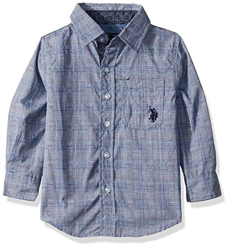 U.S. Polo Assn. Boys' Big Long Sleeve Textured Woven Shirt, Blue, 14/16