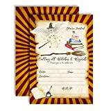 "Magical Wizard School Themed Birthday Party Invitations, 20 5""x7"" Fill in Cards with Twenty White Envelopes by AmandaCreation"