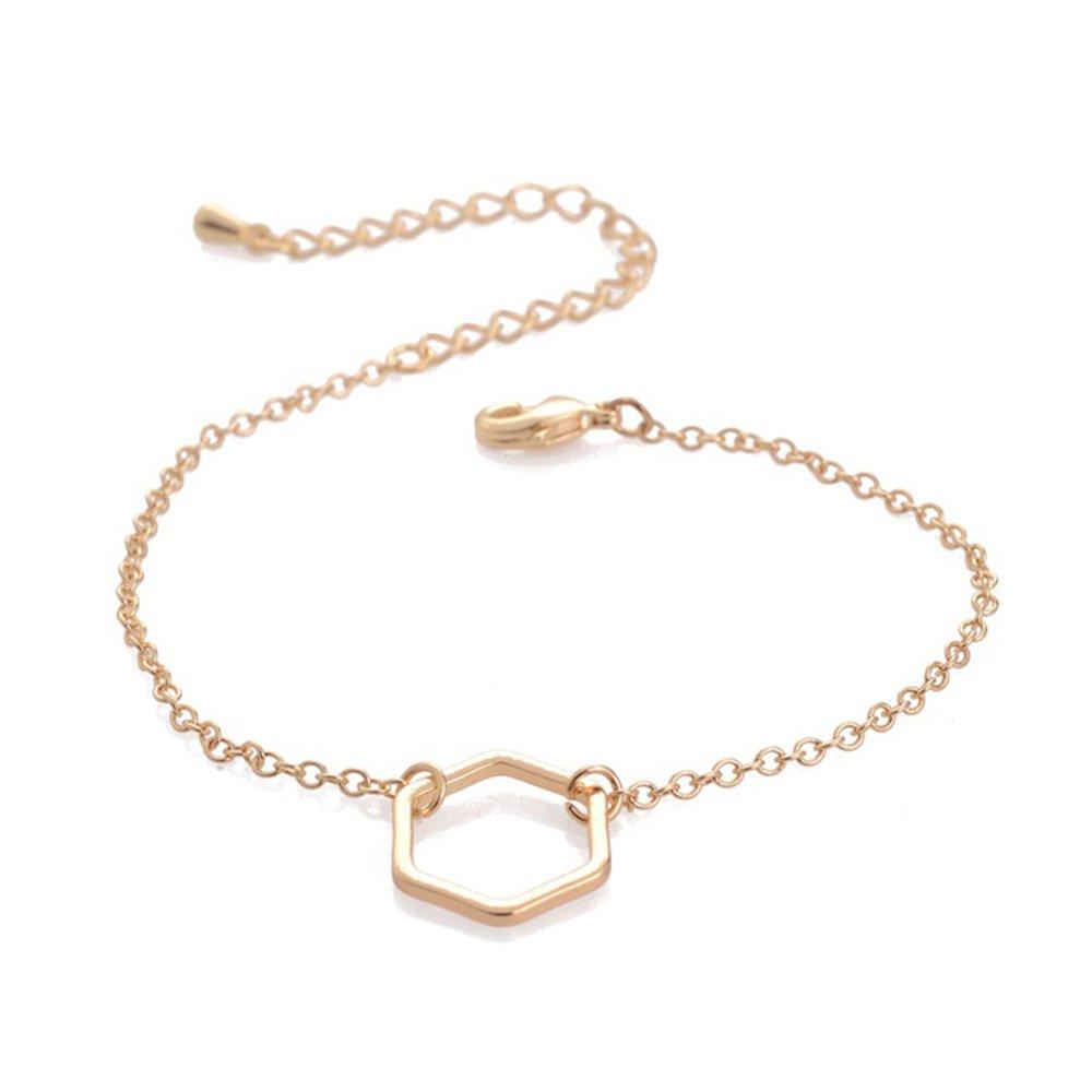 Dwcly Stylish Women Girls Simple Hexagon Bracelet Chic Geometry Jewelry Wrist Jewelry