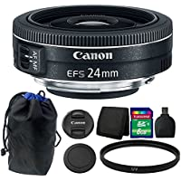 Canon EF-S 24mm f/2.8 STM Lens + 8GB Memory Card + Wallet + Reader + Pouch