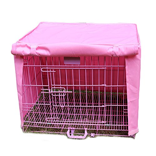 Pet Crate Kennel Cover, Indoor/Outdoor Polyester Windproof and Waterproof Dog Cat House Cage Cover (XL, Pink)