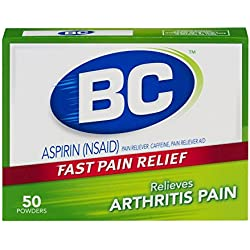 BC Aspirin Fast Pain Relief Powder - Arthritis Formula - Temporarly Relieves Minor Arthritis Pain - Contains Caffeine - 50 Powders