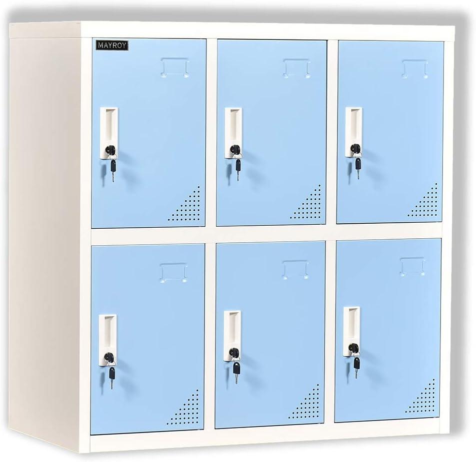 Metal Locker Office Storage Locker Home Steel Locker School Storage Organizer, Storage Cabinet for Kids Students Employee (Blue, W6D)