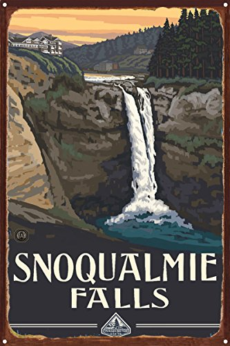 Snoqualmie Falls Washington Rustic Metal Art Print by Paul A. Lanquist (12
