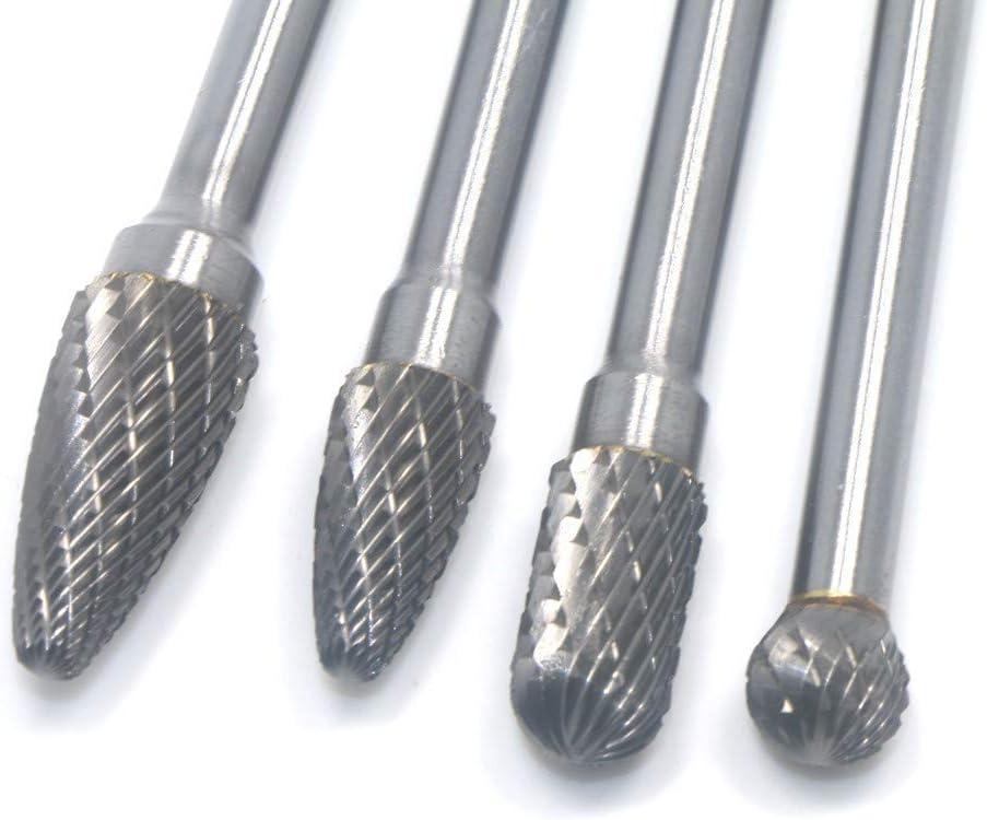 4Pcs Long Reach Rotary Burr Double Cut Tungsten Carbide Bit 1//4 Inch Shank 6 Inch Set Drill YYONGAO Industry