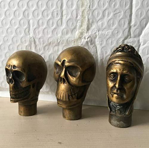 RXIN 3 Styles Asian Bronze Handmade Carved Skull Statue Walking Stick Head Ergonomic Palm Grip Handle ()