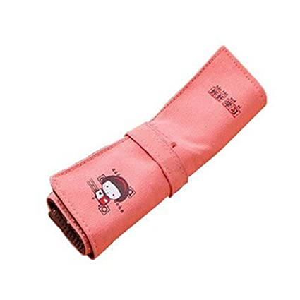 Pink Canvas Pencil Bag Roll Up Estuche para lápices Chicas ...
