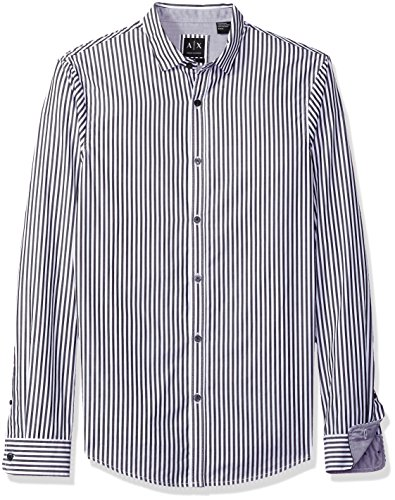 A|X Armani Exchange Men's Poplin Long Sleeve Button up Woven, Grey Wide Stripe, (Wide Collar Poplin Shirt)