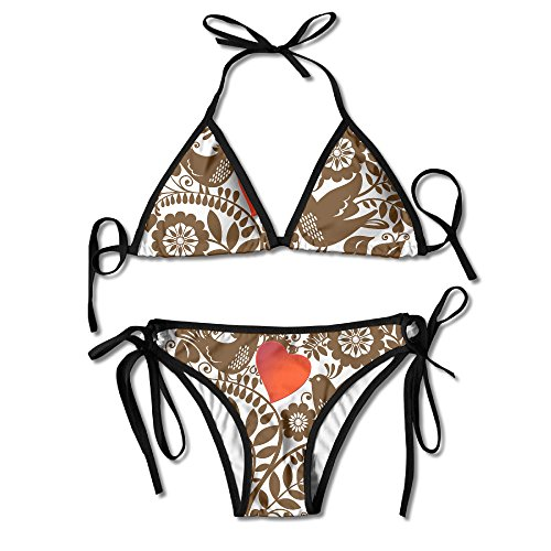 Girl4hot Women Fashion I Heart Love Guts Bikini Swimsuit Set 1 Size