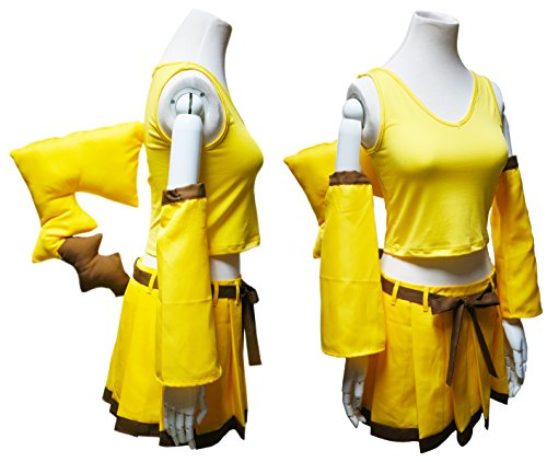 Another Me Girl's Pokemon Pikachu Cute Top Dress Ear Tail Suit Women Cosplay Costume