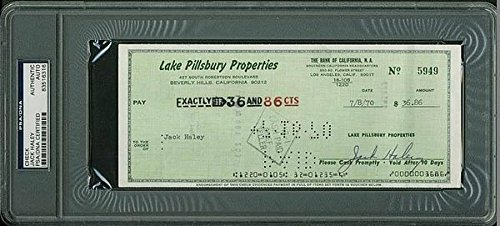 Jack Haley Wizard Of Oz Double Signed 3.5X8.5 1970 Check - PSA/DNA