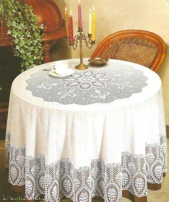 Exceptionnel New Crochet Vinyl Lace Tablecloth, 70u0026quot; Round, Bone Beige