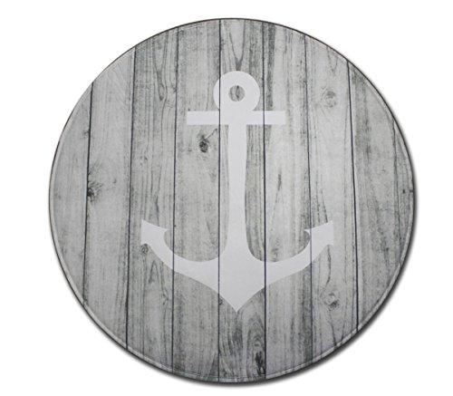 Goodbath Nautical Anchor Round Area Rugs, Non-Slip Fabric Bedroom Living Room Study Room Kids Playing Floor Mat Carpet, 4 Feet, Grey White (Area Rugs Nautical)