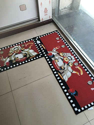 Maxyoyo 2 Pieces Fat Chefs Kitchen Floor Mats Runner Rug
