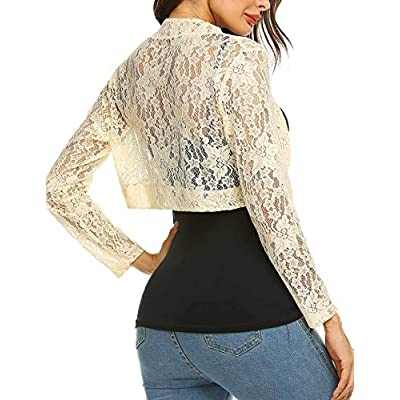 Grabsa Women's 3 4 Sleeve Lace Shrugs Bolero Cardigan Crochet Sheer Crop Jacket at Women's Clothing store
