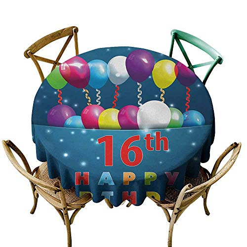 Zmlove 16th Birthday Wrinkle Resistant Tablecloth Sweet Sixteen Theme Teenage Design Party Balloons Kitsch Celebration Image and Durable Multicolor (Round - 71