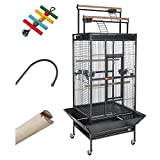 Yescom Parrot Bird Cage Storey Play Top Ladder House Pet Supply Free Toy Black Vein