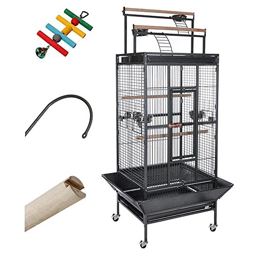 yescom-parrot-bird-cage-storey-play-top-ladder-house-pet-supply-free-toy-black-vein