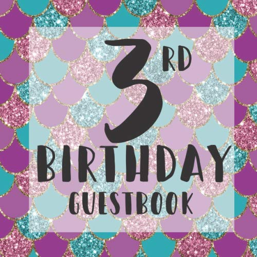 Mermaid Cake Ideas (3rd Birthday Guestbook: Purple Teal Mermaid Scales Under Sea Themed - Third Party Baby Anniversary Event Celebration Keepsake Book - Family Friend ... W/ Gift Recorder Tracker Log & Picture)