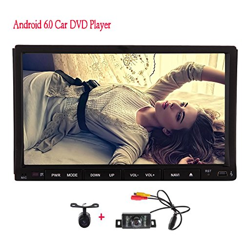 Pure Android 6.0 Quad Core Double 2 din Car DVD Player Auto Stereo System GPS Navigation 7'' Touch Screen Auto Radio Audio Receiver Bluetooth Mirrorlink Built-in WiFi 1080P + Front & backup camera