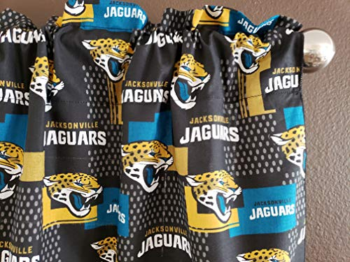 Zen Creative Designs 100% Cotton NFL Sports Team Jacksonville Jaguars Patchwork Print Window Valance Panel/Kids Nursery Window Treatment Decor (14