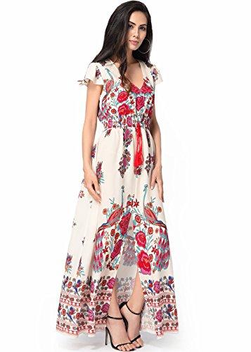 Floral Impression Cru Asymtrique Femme V Robe Beige Hem Mancherons Cou wpxBqnCB