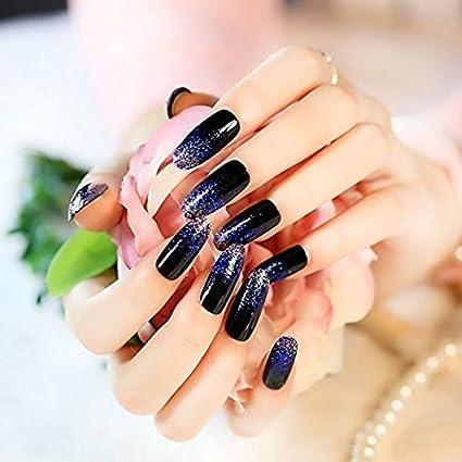 YUNAI 24 PCS/Set uñas postizas azules Nail temperamento notable El ...