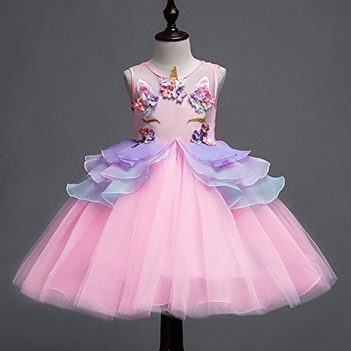 8e583fe7f IWEMEK Niña Princesa Vestido Unicornio Disfraz de Cosplay para Fiesta  Carnaval Bautizo Cumpleaños Comunión Flor Niñas Dama de Honor Boda Velada  Vestido 2-12 ...