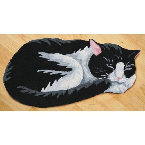 Amazon.com: Hand Hooked Black And White Cat Area Rug   Exclusive From What  On Earth: Kitchen U0026 Dining