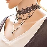 Hunputa Black Lace Flower Choker Gothic Lolita Pendant Choker Necklace