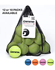 Gamma Bag of Pressureless Tennis Balls – 12 or 18 Count, 4 Colors Available, Sturdy & Reuseable Mesh Bag with Drawstring for Easy Transport - Bag-O-Balls for All Court Types, Premium Performance