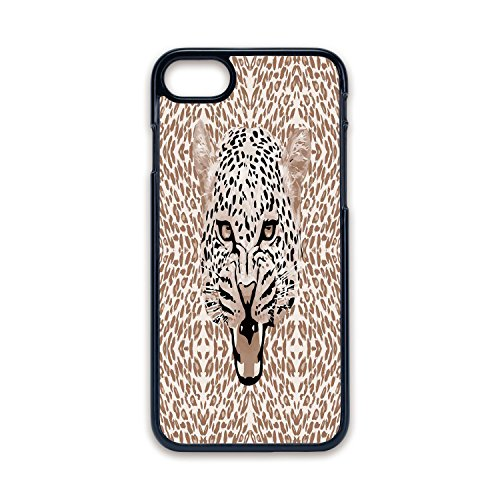 - Phone Case Compatible with iPhone7 iPhone8 Black Edge Fashion Personality,Modern,Roaring Leopard Portrait with Rosettes Wild African Animal Big Cat Graphic,Cocoa Beige Black,Hard Plastic Phone Case