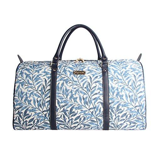 Modische grosse Reisetasche fuer Damen aus Leinengewebe, perfekte Wochendtasche, im Signare Stil William Morris Willow