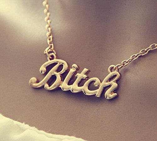 Rhinestone Bitch Choker - Honeshop Statement Oversized Bitch Gold Chunky Letter Chain Choker Necklace Punk Goth HOS Golden #2
