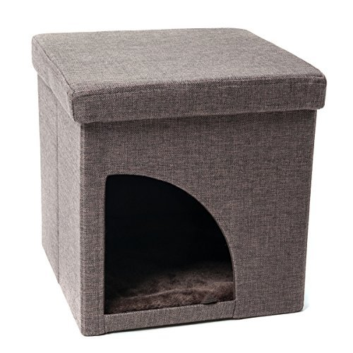 Favorite Soft Portable Opening Cat Play Cube Bed, Brown