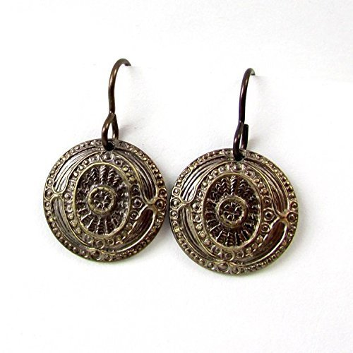 - Medallion earrings, embossed round brass coins, antiqued and burnished