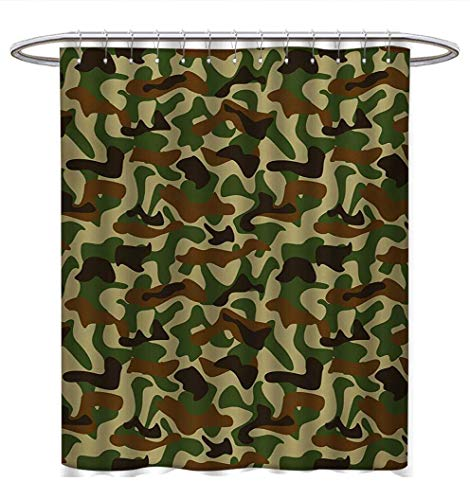 Mod Fabric Squad (Anhuthree Camouflage Shower Curtains Fabric Extra Long Squad Uniform Design with Vivid Color Scheme Hunting Camouflage Pattern Bathroom Decor Set with Hooks W72 x L84 Green Brown Khaki)