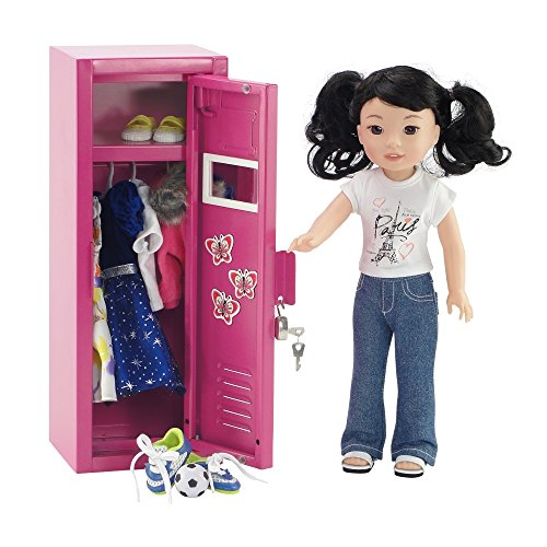 Magnetized Mirror 3 Butterfly Magnets and Name Card School Locker Storage Wardrobe with Working Lock and Key 5 Clothes Hangers Fits American Girl Dolls Emily Rose Doll Clothes 18 Inch Doll Furniture