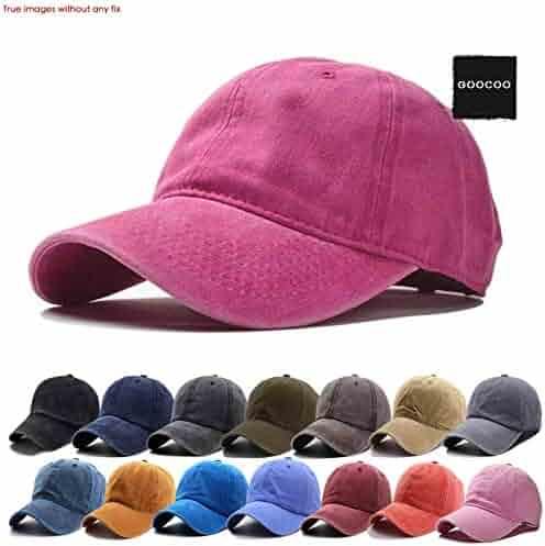 5de670bc GOOCOO Men Women Washed Twill Vintage Cap Plain Distressed Baseball-Cap  Unstructured Strapback Closure Dad