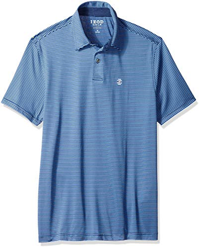 IZOD Men's Performance Golf Greenie Stripe Polo, New Club Blue Large ()