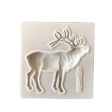 ZHOUBA - Moldes de silicona para repostería de renos de Navidad talla única blanco