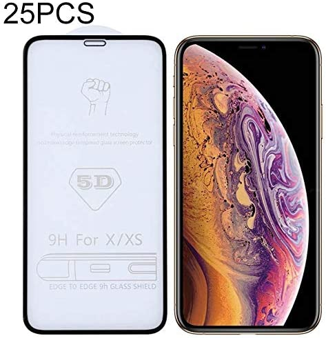 LGYD for 25 PCS 9H 5D Full Glue Full Screen Tempered Glass Film for iPhone X//XS 11 Pro