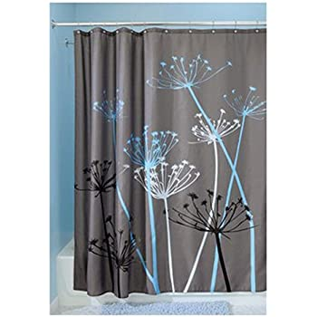InterDesign Thistle Shower Curtain U2013 Machine Washable   72u201d X 72u201d, Gray/