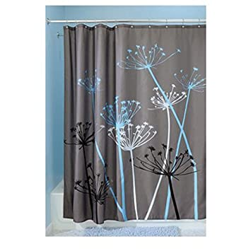 InterDesign Thistle Fabric Shower Curtain, 72 X 72 Inch, Gray/Blue