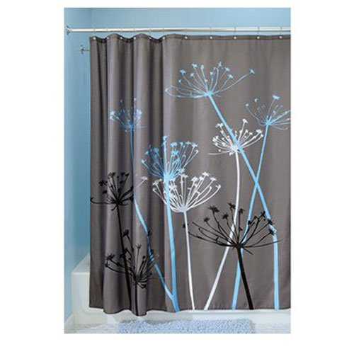 "InterDesign Thistle Shower Curtain – Machine Washable - 72"" x 72"", Gray/ Blue"